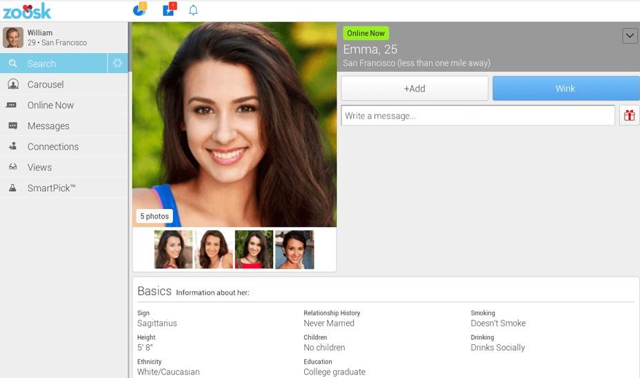 Zoosk screenshot, eine lächelnde Frau und ein Datingprofil