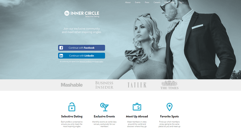 Inner Circle homepage mit einem eleganten Paar