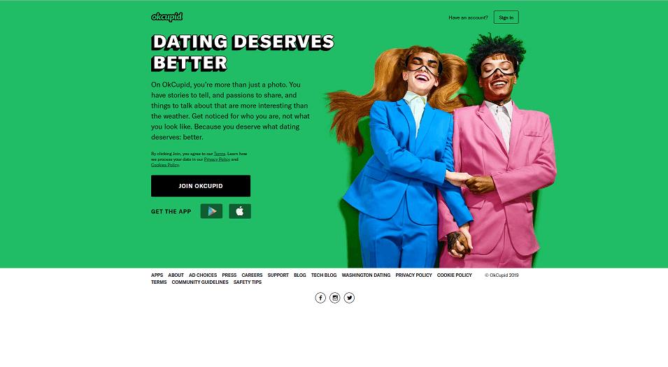 OKCupid Dating App Homepage. Eine der größten Dating-Apps in UK