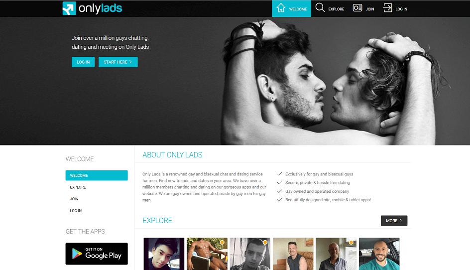 Screenshot der Onlylads seite, zwei Männer umarmen sich