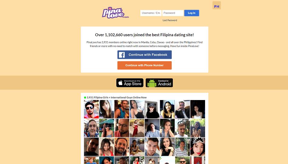 Screenshot der Pinalove Webseite mit vershciedenen Profilen