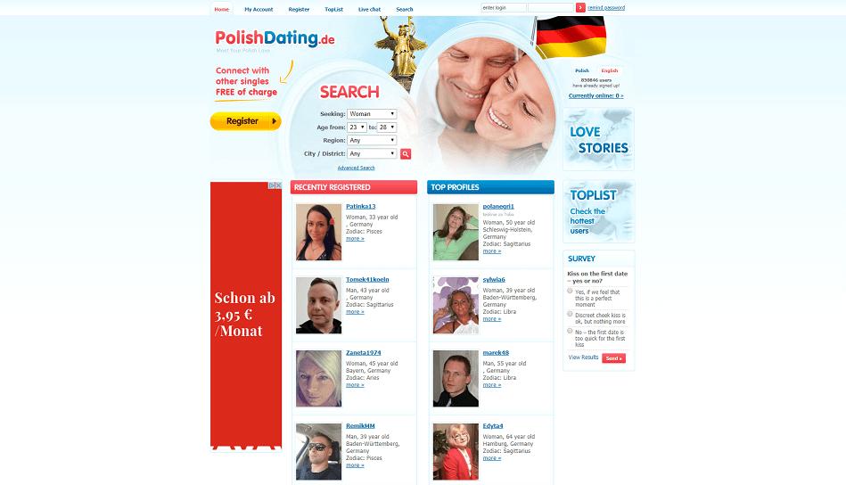 Polish Dating Homepage, die Mitglieder und eine deutsche Flagge in der rechten Ecke zeigt