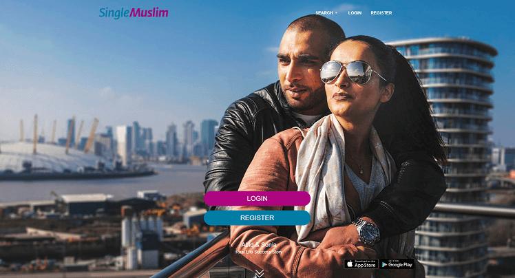 Muslimisches Paar, dass vor einem Panoramablick umarmt