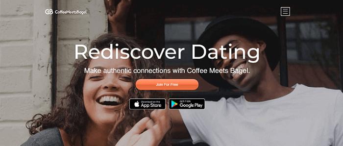 Homepage der Dating-Seite CoffeeMeetsBagel mit Gesichtern von glücklichen, jungen Männern und Frauen