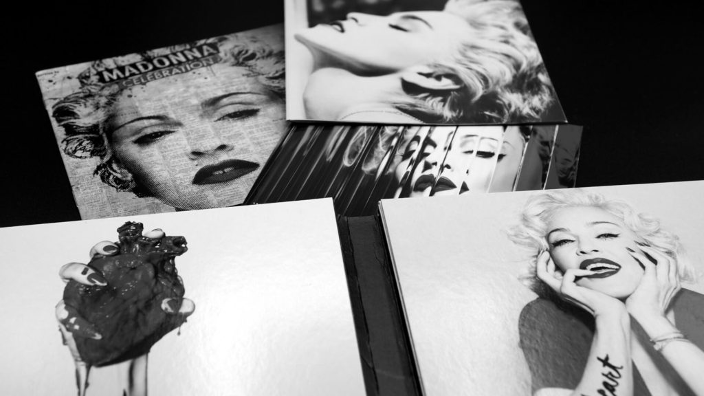 set of madonna photos in black and white