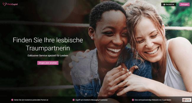Screenshot der PinkCupid Seite mit zwei lachenden Frauen