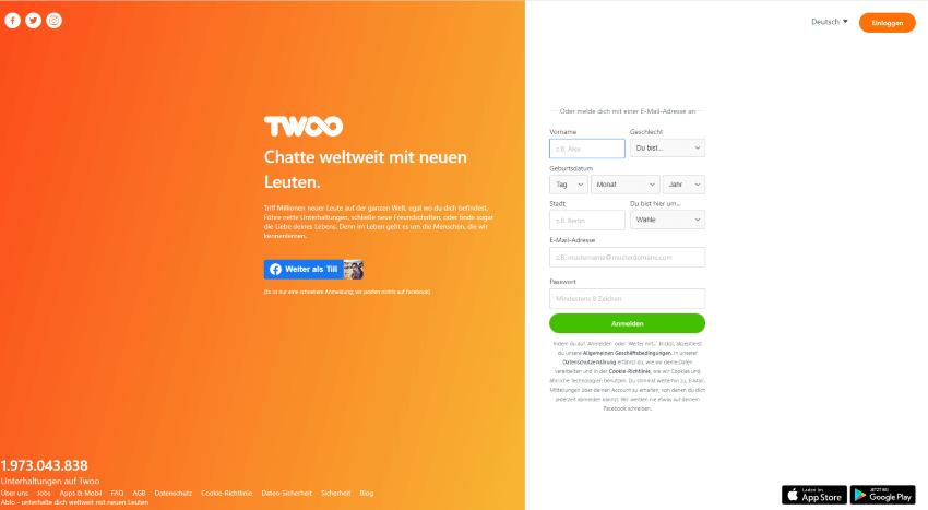 Screenshot der Twoo Homepage