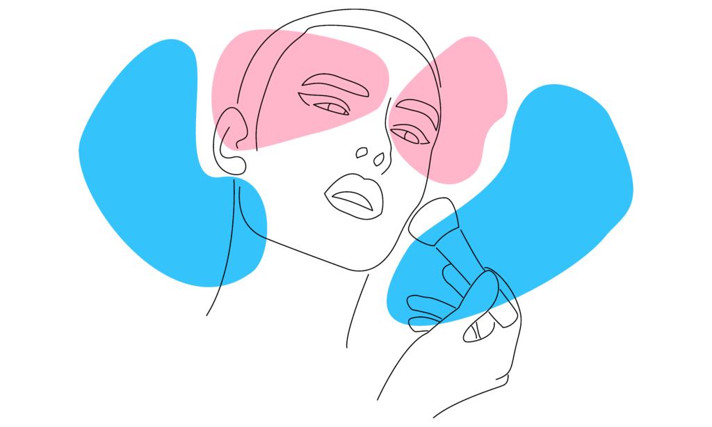 Vektorbild einer Trans-Person, die Make-up aufträgt