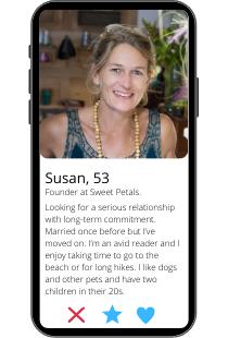 Dating-Profil Beispiel von Susan auf einem Smartphone