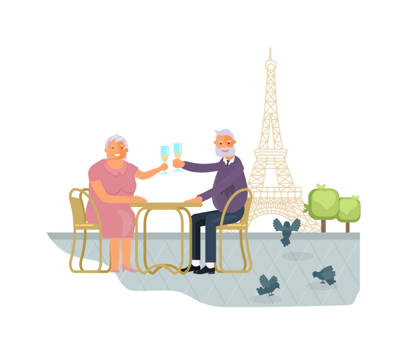 Pärchen über 50 trinkt Champagner in Paris