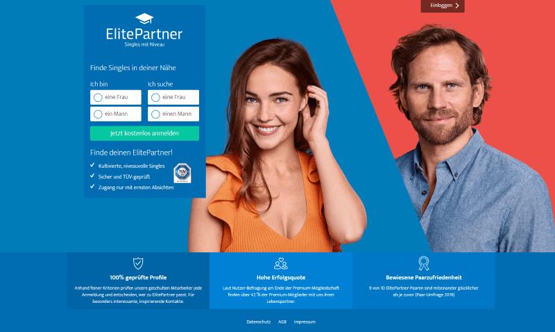 Elite Partner Startseite zeigt attraktive Frau und Mann