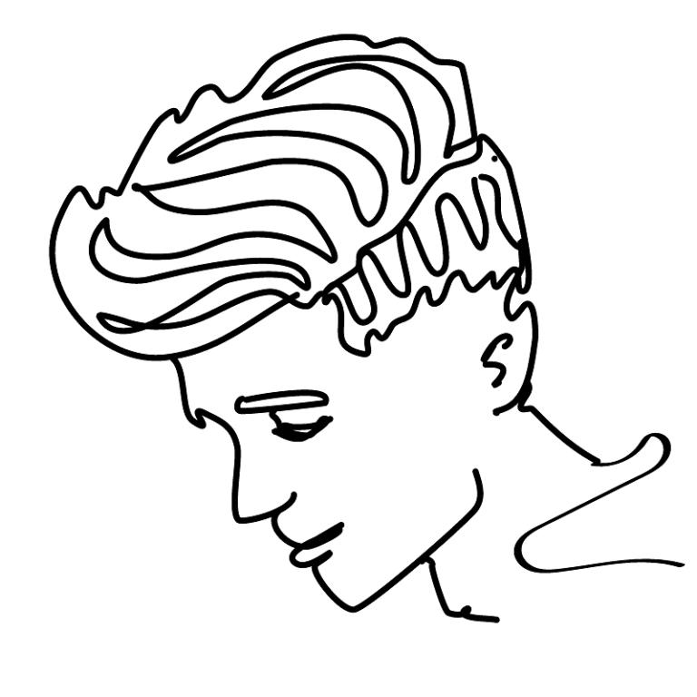 Schwarzstrich-Profilzeichnung eines klassischen Fuckboys.