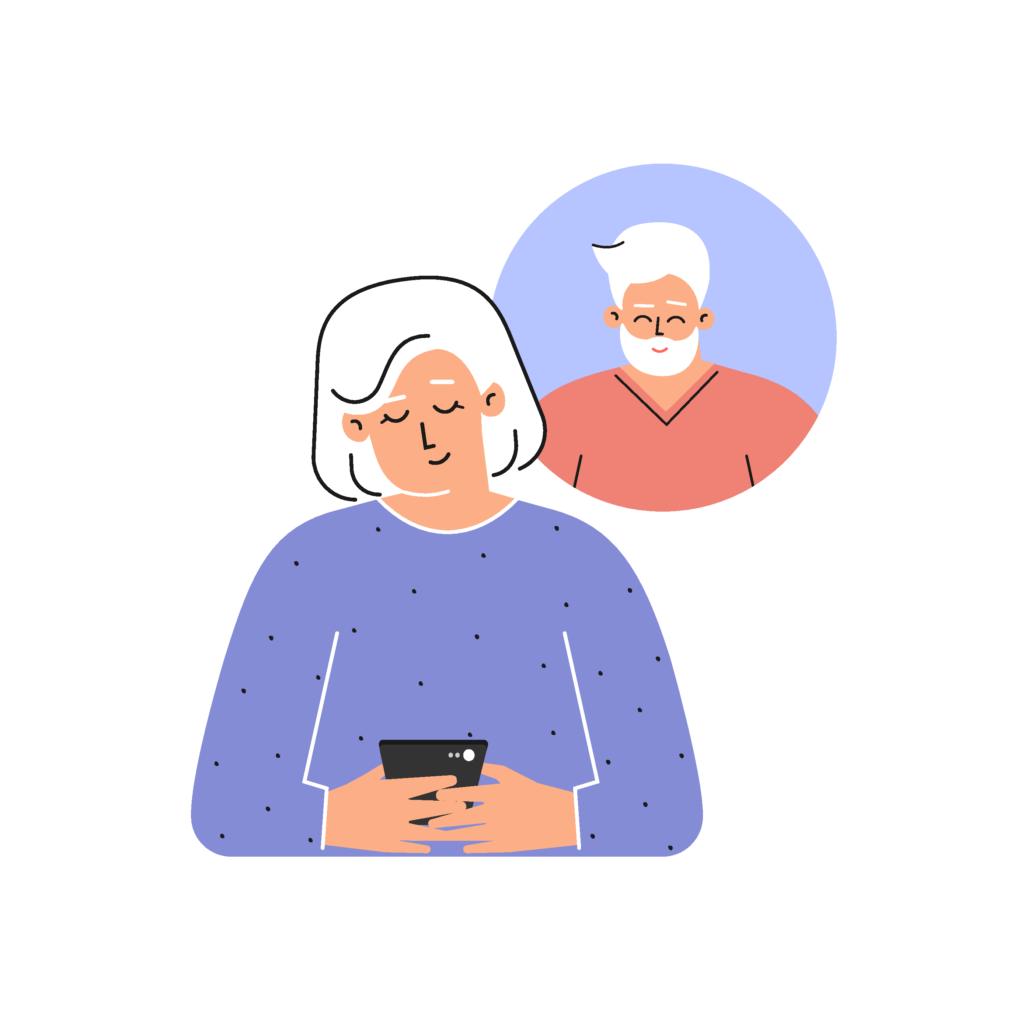 Reife Frau textet über Smartphone mit ihrem Schwarm