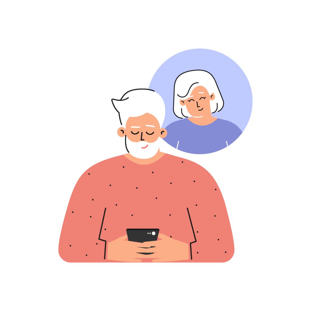 Reifer Mann schreibt eine Nachricht per Smartphone und denkt an seinen Schwarm