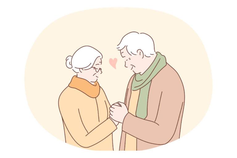 Älteres christliches Paar hält Händchen