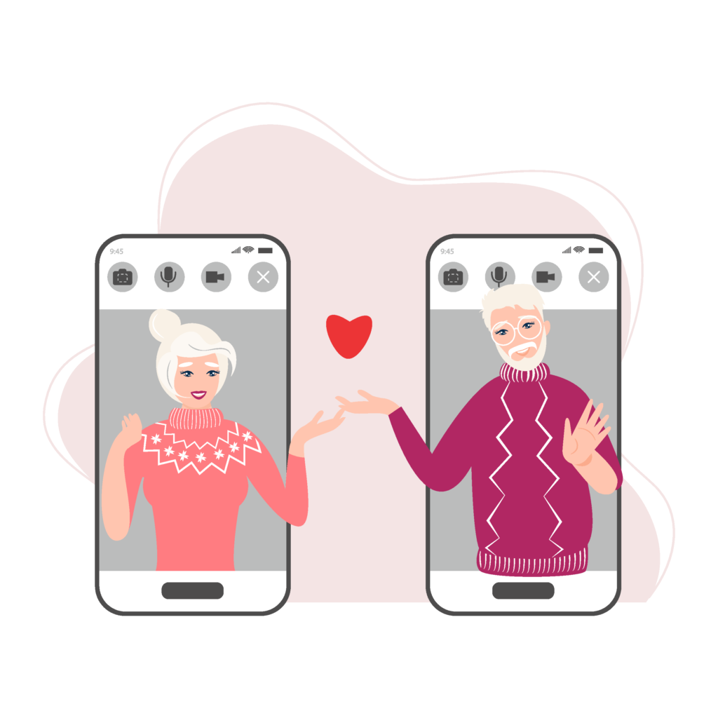 Zwei Smartphones zeigen ein liebendes älteres Paar