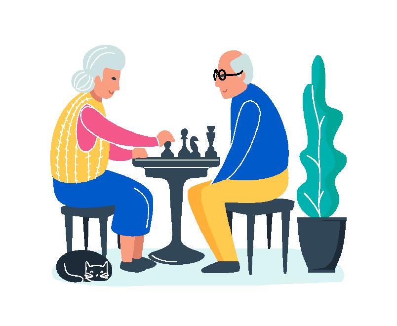 Paar über 50 spielt Schach