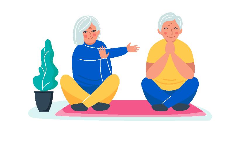 Paar über 50 dehnt sich auf einer Yogamatte