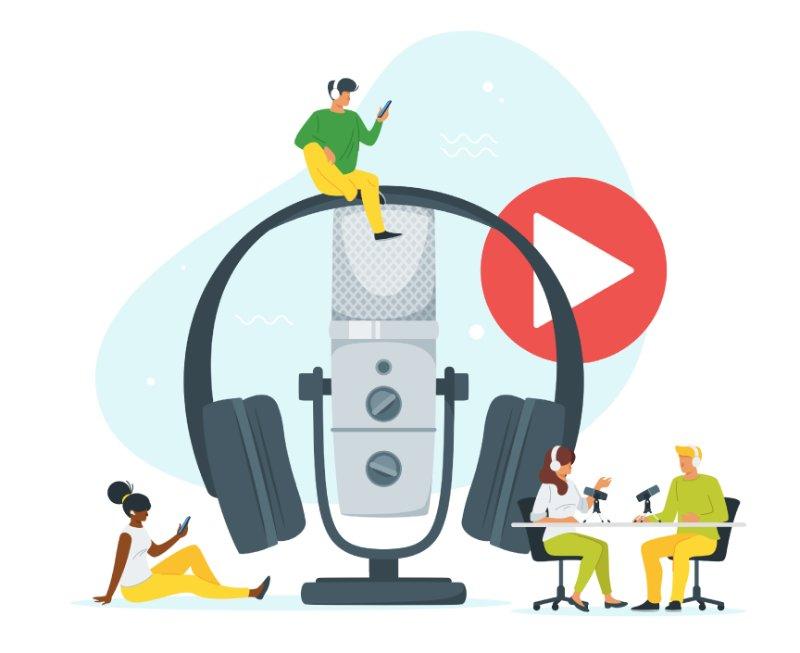 Vektorgrafik von Personen mit einem großen Mikrofon und Kopfhörer in der Mitte, die eine Podcast hören und aufnehmen