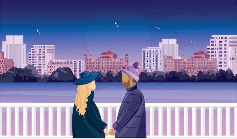 Illustration von zwei Singles bei einem Date