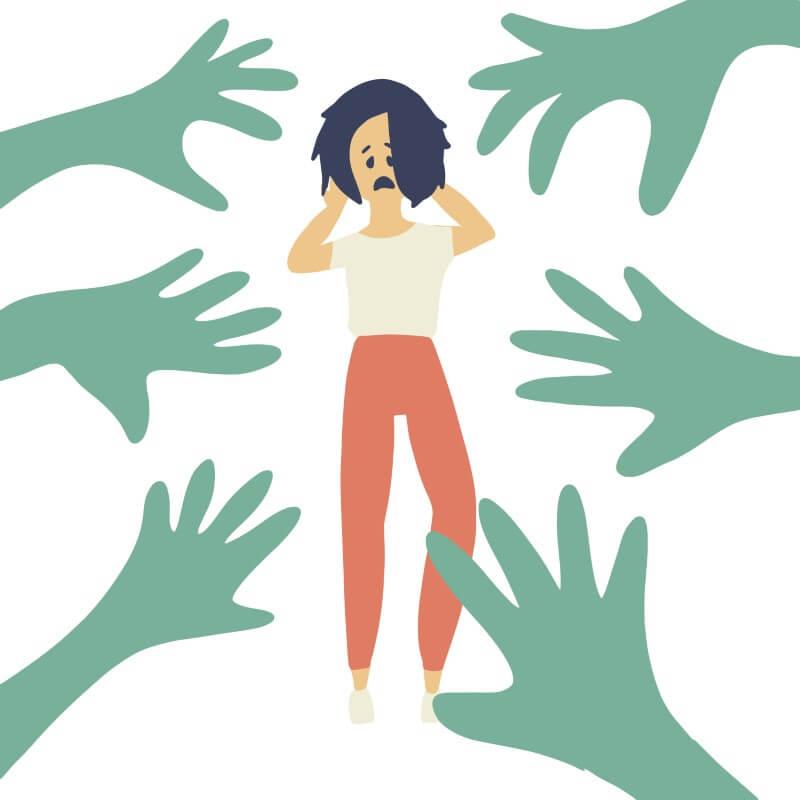 Illustration einer Person, die sich durch äußere Einflüsse bedrängt fühlt