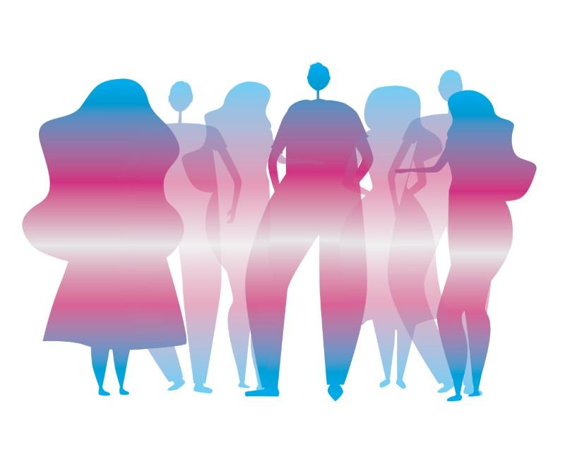 Illustration der Schatten von Personen in Trans Pride-Farben