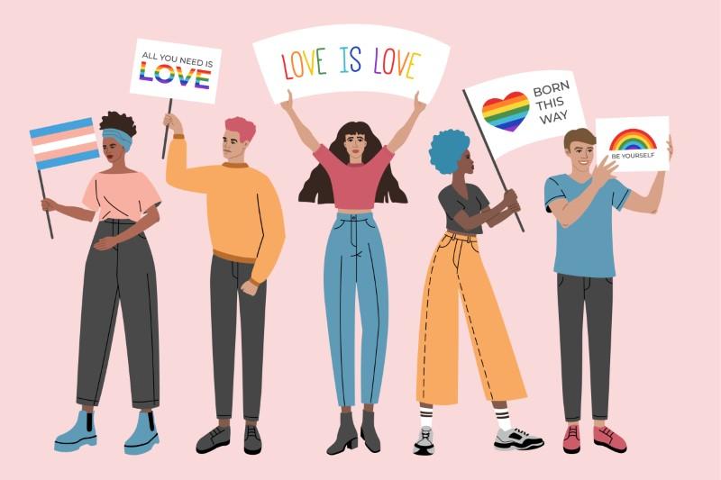 Gruppe von Menschen, die für die Gleichberechtigung von Lesben und Schwulen demonstrieren