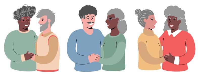 Illustration von reifen Paaren unterschiedlicher Sexualität