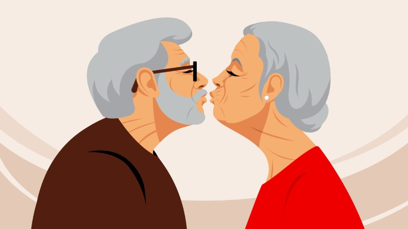 Illustration von älterem Mann und Frau die dabei sind sich zu küssen