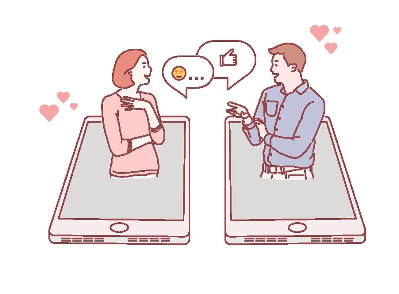 Vektorgrafik einer Frau und eines Mannes, die online chatten