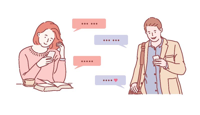 Vektorgrafik einer Frau und eines Mannes, die sich gegenseitig SMS schreiben