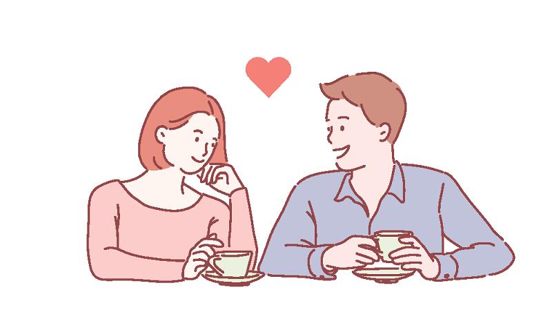 Vektorgrafik einer Frau und eines Mannes, die sich ineinander verlieben