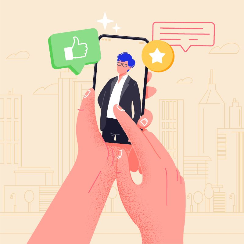 Vektor Grafik von einer Person die mit einem Typen über ihr Telefon flirtet