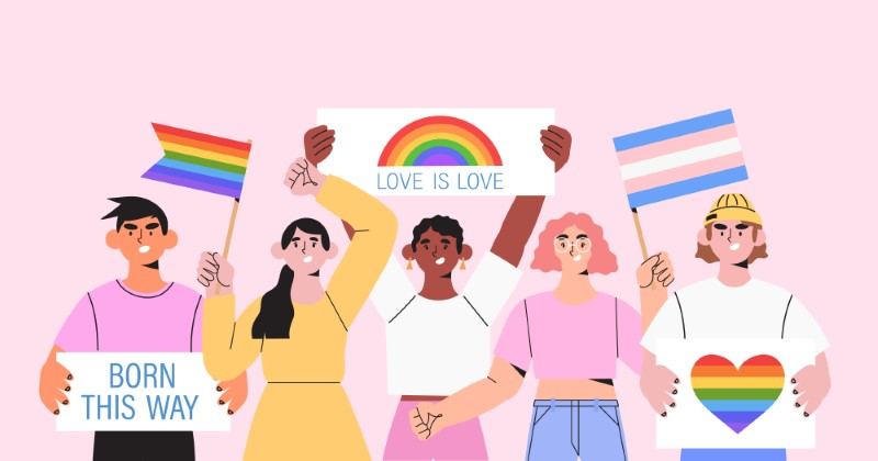 Illustration einer vielfältigen Gruppe von Menschen, die für die Akzeptanz von Queer protestieren