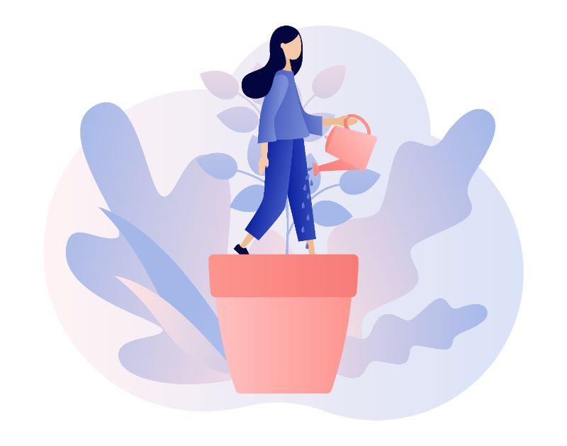 Vektorgrafik einer Frau, die ihr Selbstvertrauen verbessert, dargestellt durch das Gießen einer Pflanze