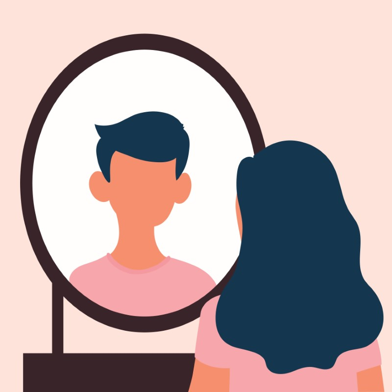Vektor-grafik einer Transgender-Person, die in einen Spiegel schaut