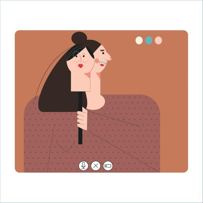 Abbildung von Catfish Frau mit einer Maske auf einem Videoanruf
