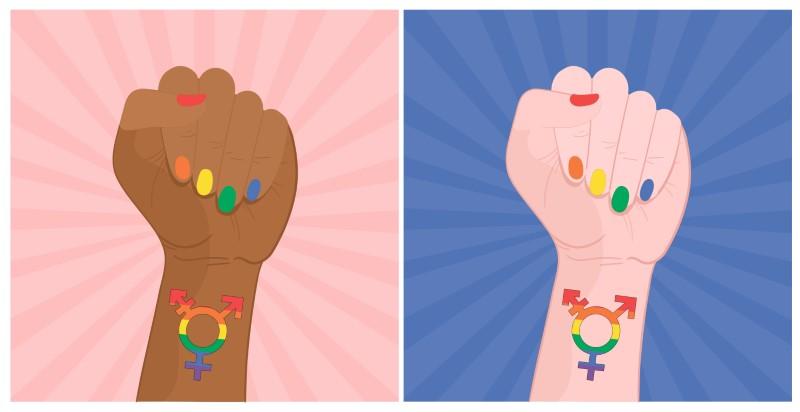 illustrierte Hand einer weißen und schwarzen Person mit Regenbogennägeln und dem Transgender-Zeichen an den Handgelenken