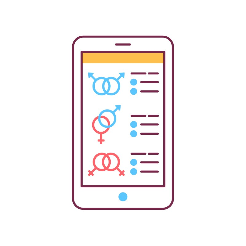 Telefonillustration mit verschiedenen Optionen zur sexuellen Orientierung