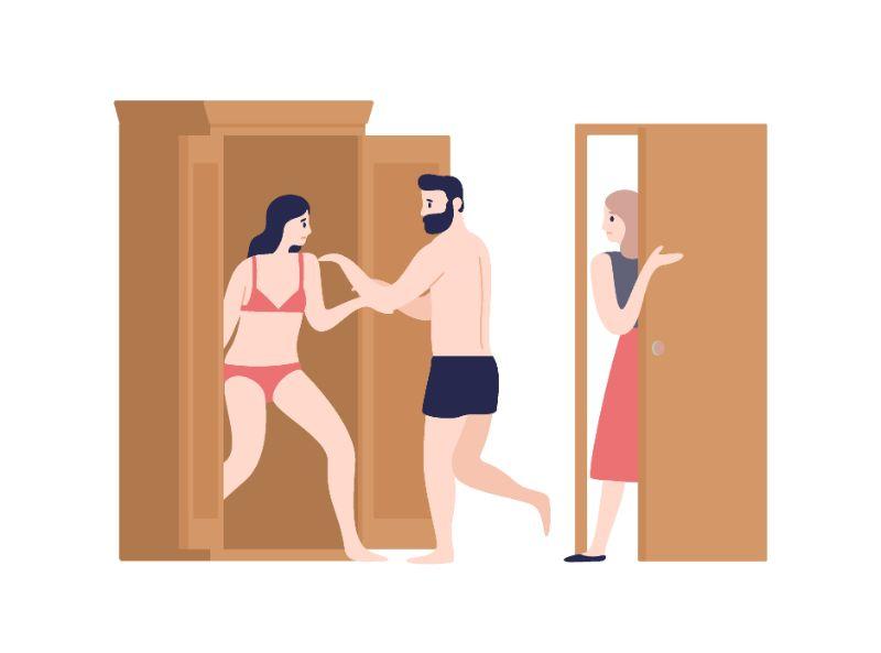 Vektorgrafik eines Mannes, der eine Frau in Unterwäsche im Schrank versteckt, während eine andere Frau den Raum betritt