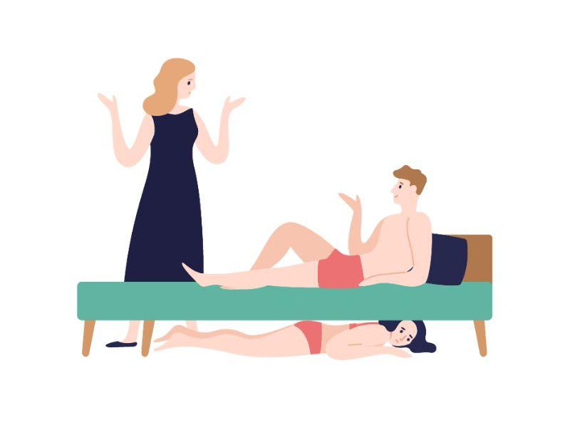 Vektorgrafik eines Mannes, der im Bett liegt und mit seiner Partnerin spricht, während eine Frau in Unterwäsche unter dem Bett versteckt ist