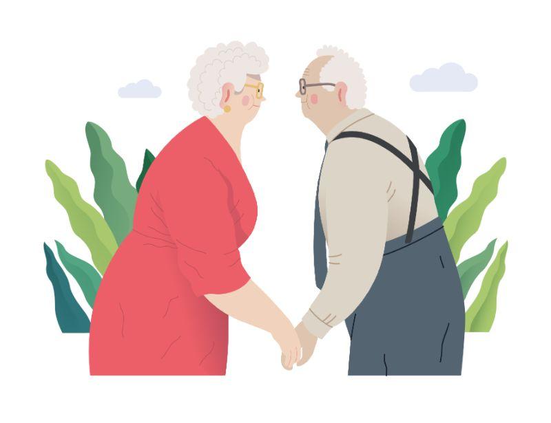 Vektorgrafik eines älteren Senioren Paares