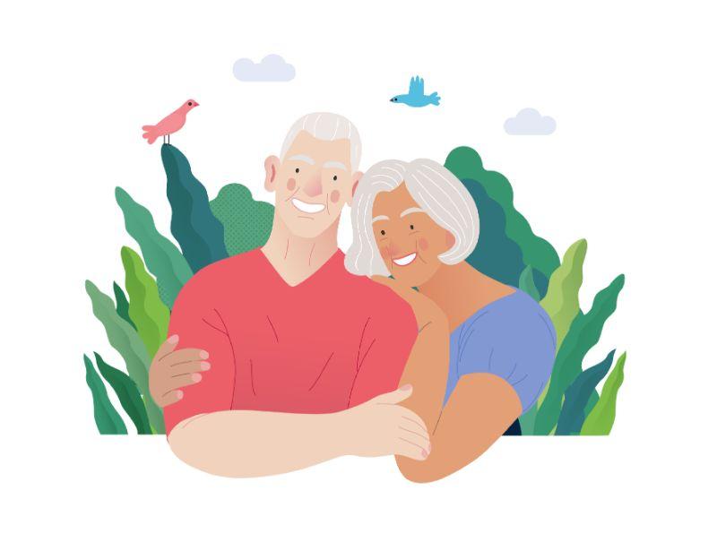 Vektorgrafik eines sich umarmenden Paares über 50