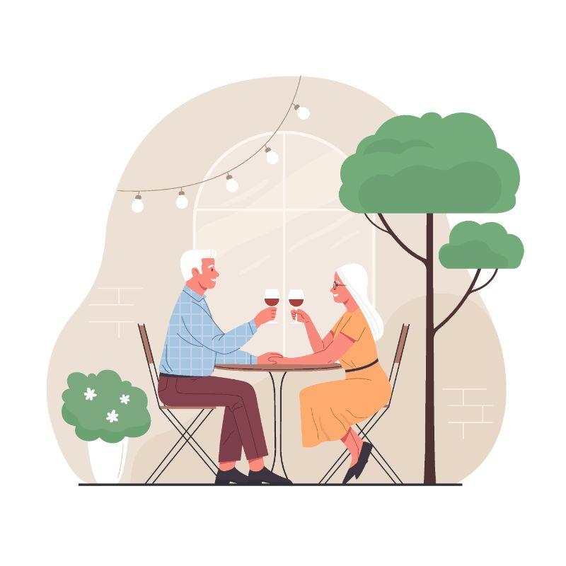 Vektorgrafik eines weißhaarigen Mannes und einer Frau, die in einem Restaurant Wein trinken