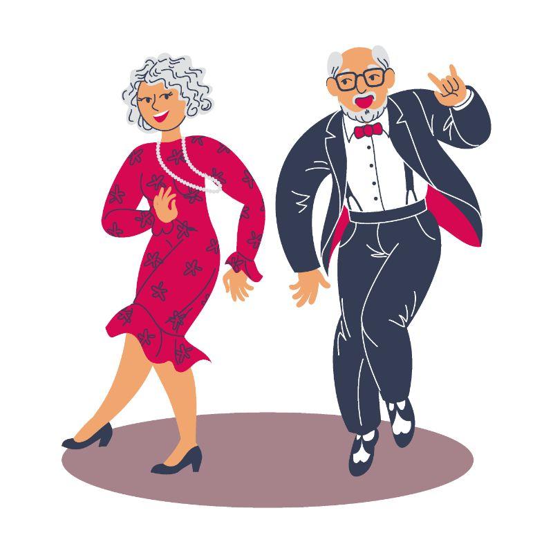 Vektorgrafik von zwei älteren Menschen die tanzen