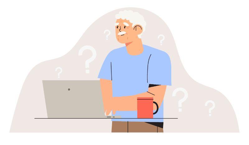 Vektorbild eines älteren Mannes, der einen Laptop benutzt