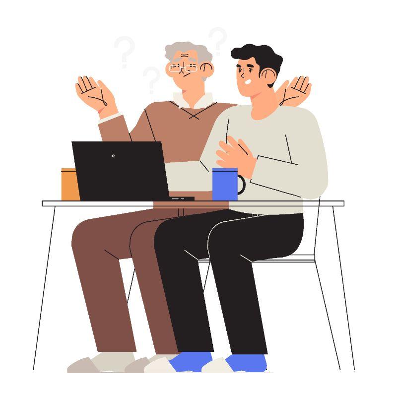 Illustration eines jüngeren Mannes, der einem älteren Mann etwas auf dem Laptop erklärt