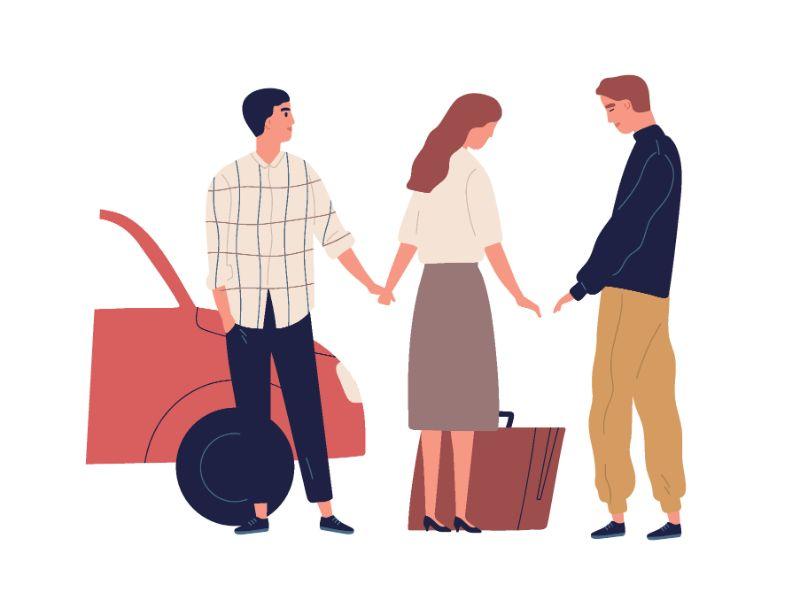 Vektorgrafik einer Frau, die zwischen zwei Männern steht und sich von einem von ihnen verabschiedet
