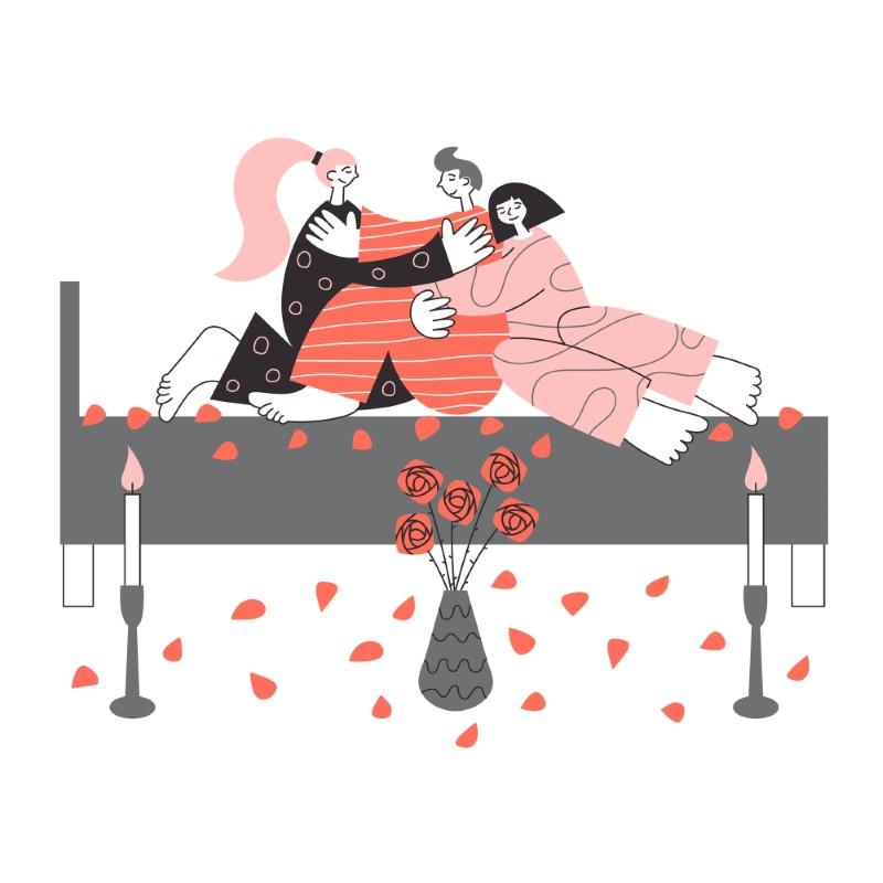 Vektorgrafik von zwei Frauen und einem Mann die kuschelnd im Bett liegen