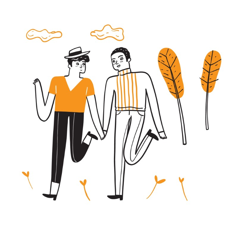 zwei gezeichnete männliche Personen, die sich an den Händen halten